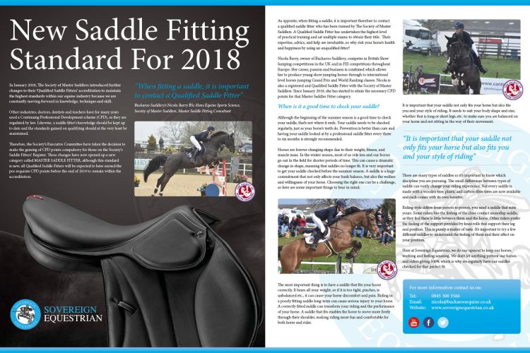New Saddle Fitting Standard For 2018